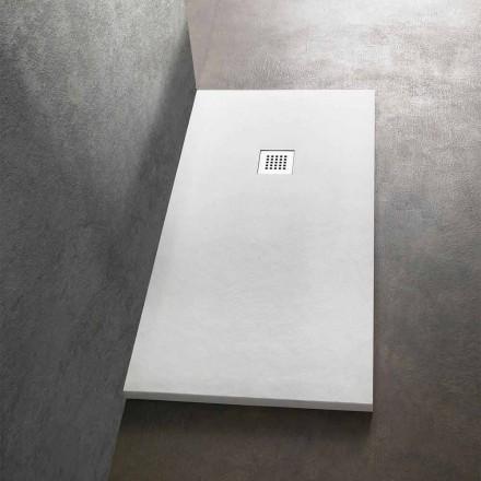 Moderne rektangulært brusebad 160x80 i steneffektharpiks - Domio