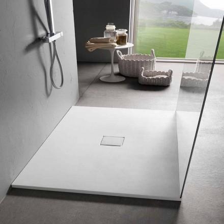 Firkantet brusebad 80x80 cm i hvid harpiksfløjleffekt - Estimo