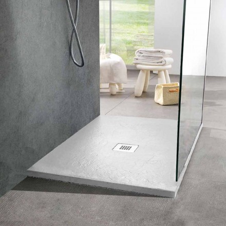 Firkantet brusebad 80x80 i hvid skifereffektharpiks og stål - Sommo