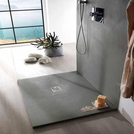 Firkantet brusebad 80x80 i harpiks betoneffekt moderne design - Cupio