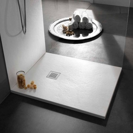 Firkantet brusebad 80x80 i harpiks med moderne steneffektfinish - Domio