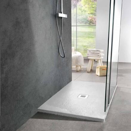 Rektangulært brusebad 100x80 i hvid harpiksskifereffekt - Sommo