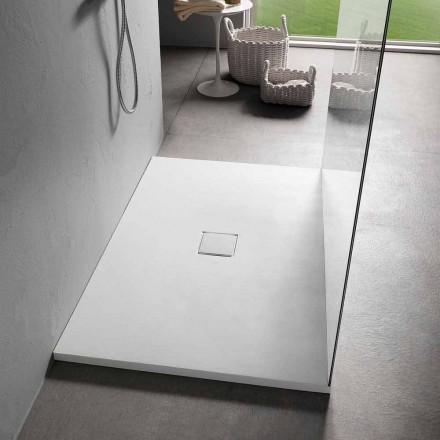 Rektangulært brusebad 140x90 cm i hvid harpiksfløjleffekt - Estimo