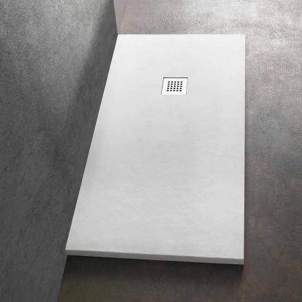 Rektangulært brusebad 140x90 i harpiks steneffektfinish - Domio