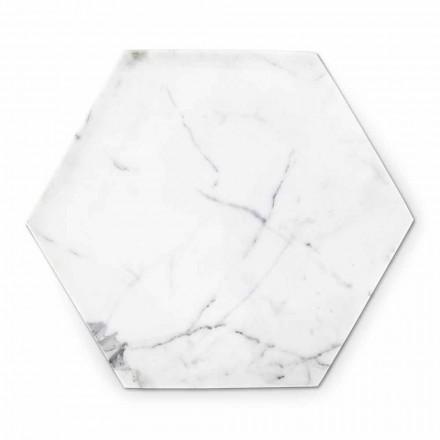 Sekskantet designplade i hvid Carrara-marmor fremstillet i Italien - Sintia