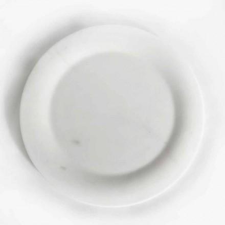 Flad plade i blank hvid statuemarmor af Made in Italy Design - brandy