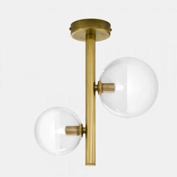 2 lys loftslampe i glas og naturlig messing fremstillet i Italien - Molecola af Il Fanale