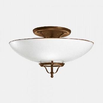 3 Lofts Loftlampe i Messing og Murano Glas Semisfera - Land af Il Fanale