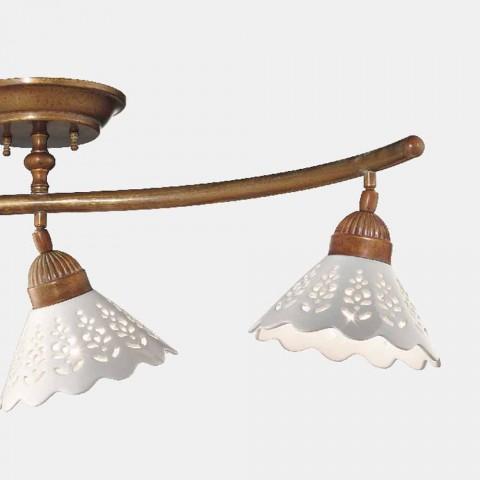 3 lys loftslampe i messing og perforeret keramik - Fiordipizzo af Il Fanale