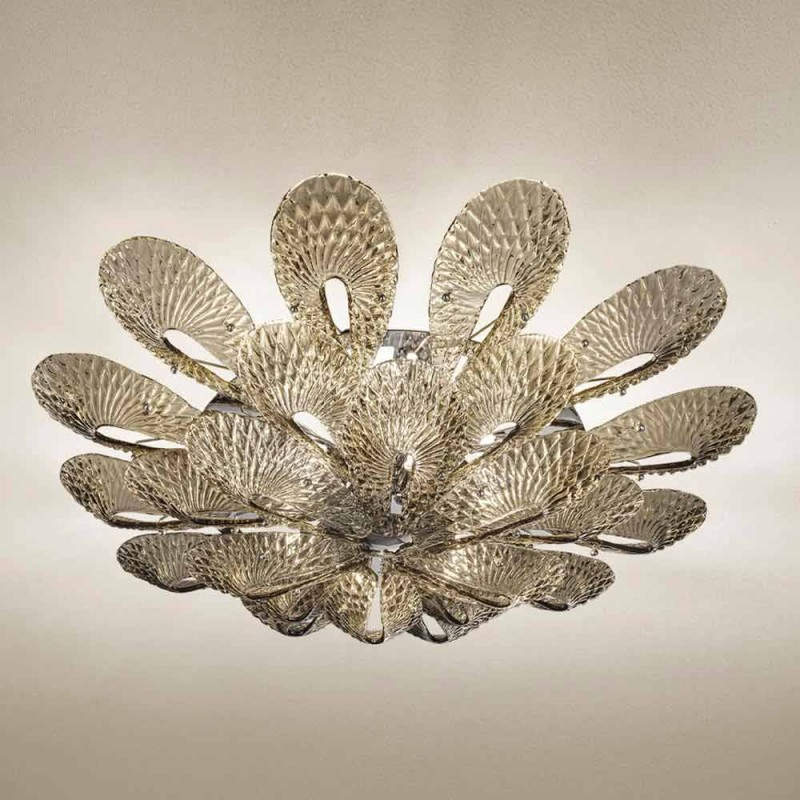 Artisan Loftlampe i røget venetiansk glas, fremstillet i Italien - Minos