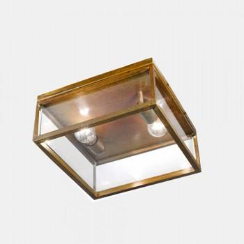 2-lys udendørsloftslampe i messing og vintage glas - ramme af Il Fanale