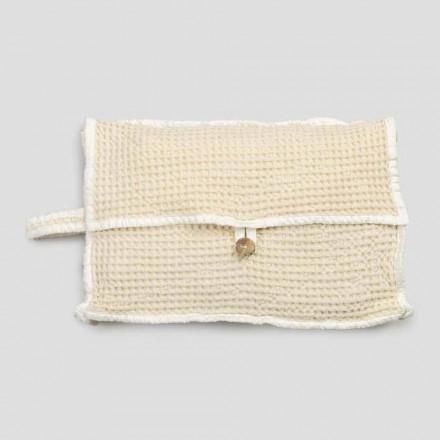 Naturlig hvid honningkage bomuldskoblingstaske med perlemorsknap - Anteha