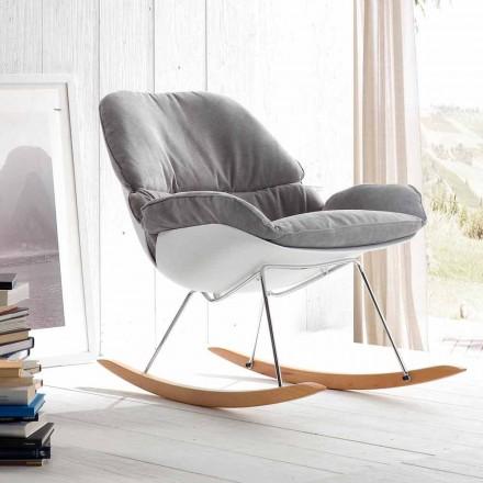 Rocking lænestol med moderne aftagelig blød grå pude Acacia