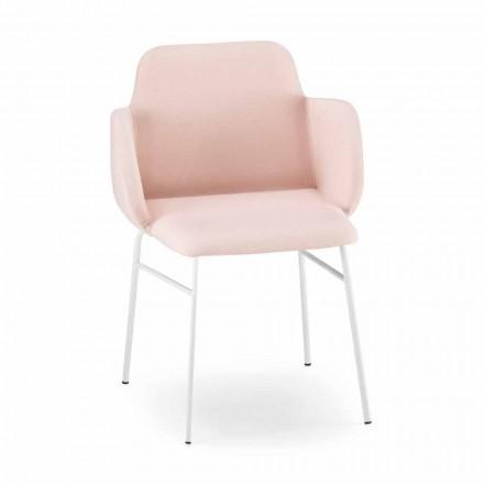 Højkvalitets farvet lænestol i stof og metal fremstillet i Italien - Molde