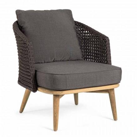 Udendørs lænestol med rebstøtte og teakben, Homemotion - Chantall