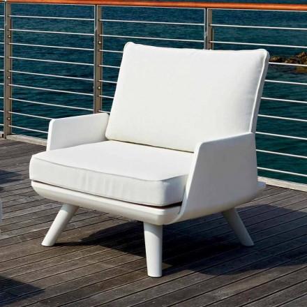 Polstret udendørs lænestol af hvidt og moderne design - Samurai af Myyour