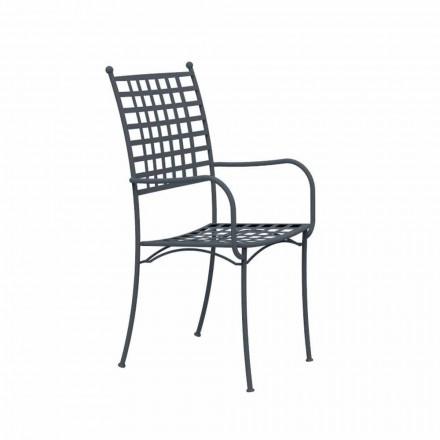 Udendørs stabelbar lænestol i metal Fremstillet i Italien, 4 stykker - Pira