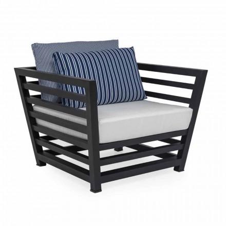 Udendørs lænestol i hvide eller sorte puder af aluminium og stof - Cynthia
