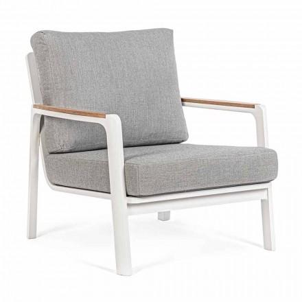 Udendørs lænestol i aluminium, teaktræ og stof, Homemotion, 2 stykker - Cara