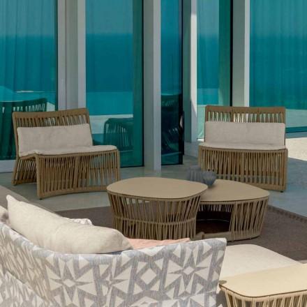 Cliff Talenti udendørs lænestol i reb og stof, design Palomba
