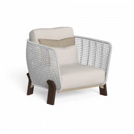 Udendørs lænestol i reb, stof og ædelt træ - Argo af Talenti