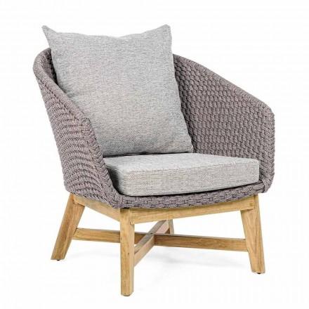 Udendørs lænestol i vævet reb og teaktræ, Homemotion - Callum