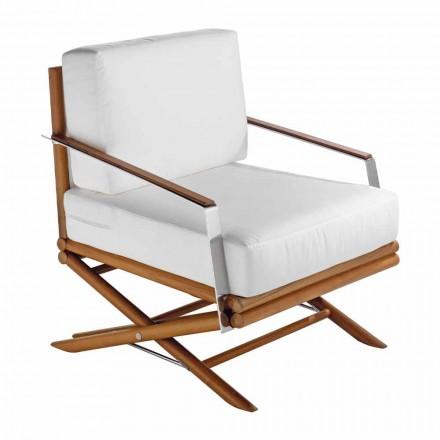 Design udendørs lænestol i naturligt eller sort træ med pude - Suzana