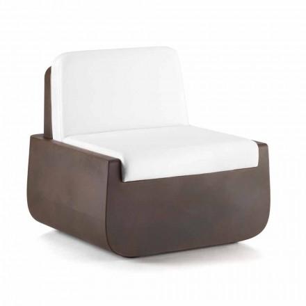Udendørs lænestol i polyethylen med stofpude fremstillet i Italien - Belida