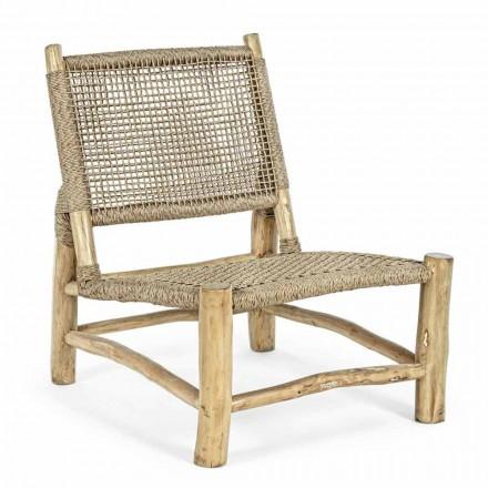 Udendørs lænestol i teakgrene og syntetisk fiber, 2 stykker - Tecno