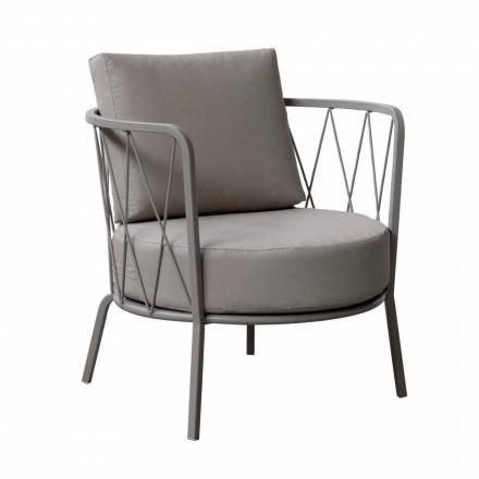 Moderne udendørs lænestol i malet metal og stof fremstillet i Italien - Olma