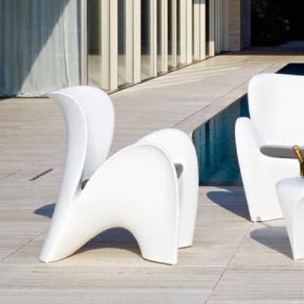 Designfarvet plastik udendørs eller indendørs lænestol - Lily af Myyour