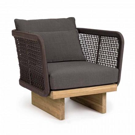 Havelænestol med teakfod og rebstøtte, Homemotion - Chantall