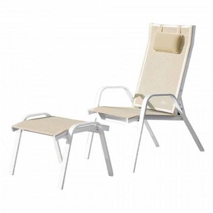 Lænestol af aluminium med fodstøtte fremstillet i Italien - Camillo
