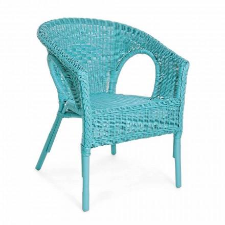 Design stabelbar lænestol i hvid, blå eller grøn rotting - Favolizia