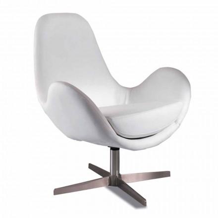 Polstret og drejelig læderstolestol, moderne design - Gajarda
