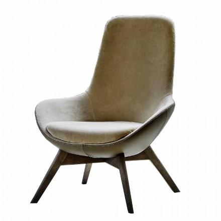 Stue lænestol i læder og stof med træbund lavet i Italien - Ama