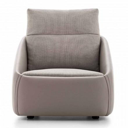 Stue lænestol i høj kvalitet læder og stof fremstillet i Italien - Amarena