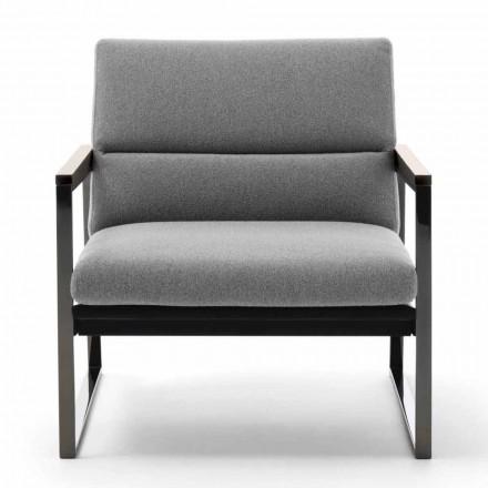 Stue lænestol i stof, læder og ædle metaller fremstillet i Italien - Milla