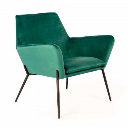 Moderne loungestol i benzingrønt fløjl og sort metal - tonet
