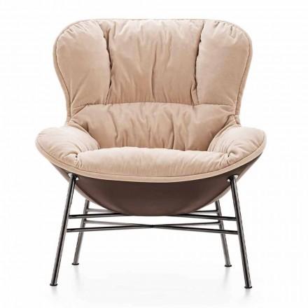 Stue lænestol i læder og stof med forkromet fod lavet i Italien - Litchi