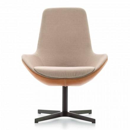 Stue lænestol i læder og stof med drejelig base lavet i Italien - Ama