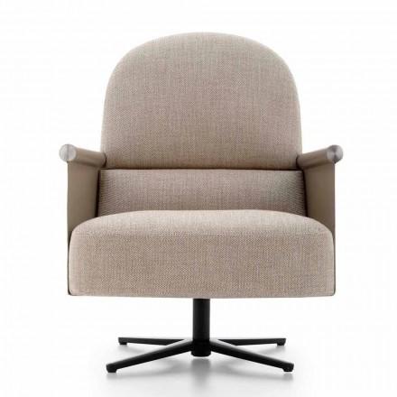 Stue lænestol i stof, læder og metal fremstillet i Italien - Camomilla