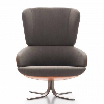 Stue lænestol i stof og læder med drejelig base lavet i Italien - Liana