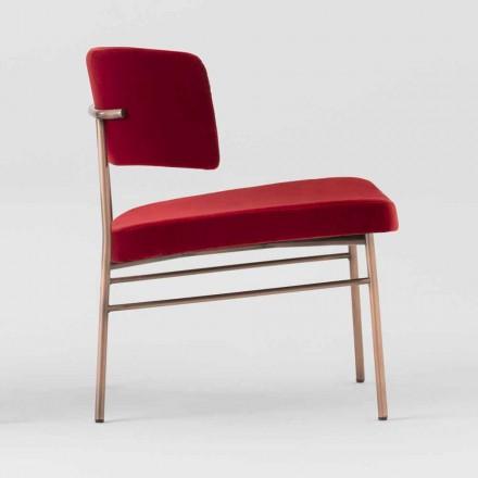 Stue lænestol i fløjl med metalstruktur fremstillet i Italien - Alaska