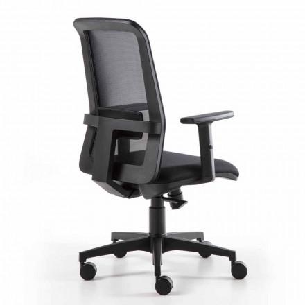 Drejelig kontorlænestol med gaslift i teknisk stof og mesh - kontor