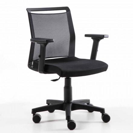 Drejelig kontorlænestol i teknisk stof og sort mesh - Daria