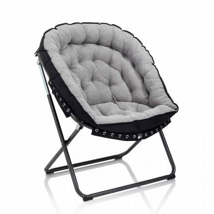 Design lænestol i lysegrå fløjl med sort metalstruktur - Tronia