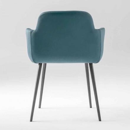 Lænestol af høj kvalitet i læder og malet metal fremstillet i Italien - Molde