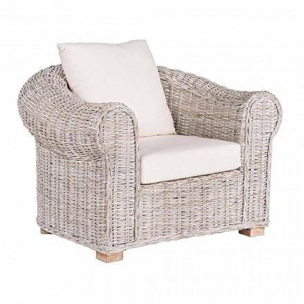 Etnisk lænestol til indendørs eller indendørs udendørs Rattan-homotion - Francioso