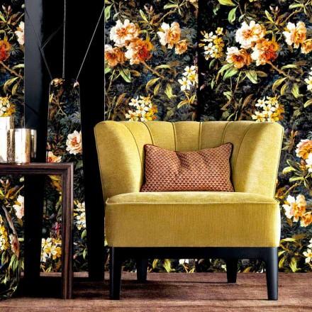 Design lænestol i polstret stof Grilli Kipling lavet i Italien